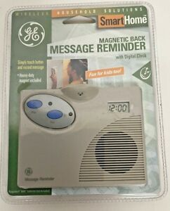 GE Smart Home Message Reminder Magnet Back With Digital Clock Battery Operated