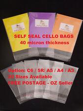 Self Seal Cello Cellophane OPP Resealable Plastic Bags C6 5R A5 A4 A3