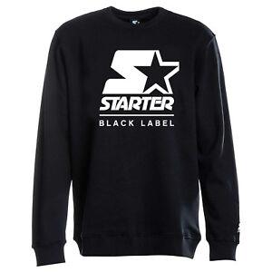 Starter Black Label Men Sweat Long Sleeve Top White Script Pullover Crew Jumper