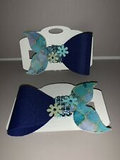 Handmade Faux Leather Mermaid Tail Girl'S Hair Bow Clip blue and green