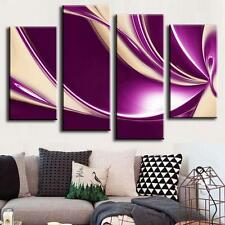 Abstract Canvas Print Wall Art Home Decor Modern Fine Painting Purple White 4Pcs