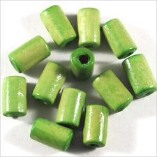 set di 50 perline in legno Tubi 6 x 10 mm Anice Verde