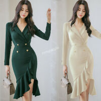 Fall Winter Women V-neck Ruffle Fishtail Formal Business Cocktail Party Dress