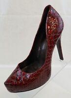 Jessica Simpson Stiletto Heels Parigi Croc Orange Black Print Womens Shoes 7.5B