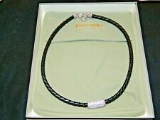 JUDITH RIPKA BLACK LEATHER & STERLING COLLAR NECKLACE WITH CZ TUBE PENDANT N 3