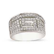 STERLING SILVER LADIES CUBIC ZIRCONIA CZ BOMBAY GREEK KEY ETERNITY WEDDING RING
