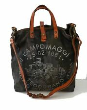 CAMPOMAGGI Oversized Camo Canvas and Vachetta Leather Logo Tote Bag UNISEX