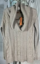 NEW~ S Small Taupe Brown Silver Cable Knit Belldini Cowl Tunic Sweater
