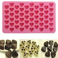 Silicone 55 Heart Mold Cake Chocolate Cookies Baking Ice Mould Tray Cube Y1N6
