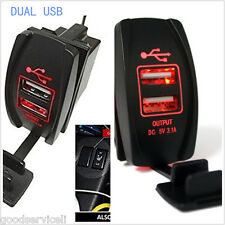 Motorcycle Car Boat Dual USB Power Waterproof Red Light Charger Carling ARB Rock
