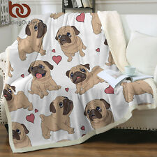 Funny Cute Dogs Puppy Blanket Gift For Dog Lover Boys Kids Fleece Sherpa Blanket