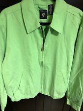Oxford Golf Men's Full Zip Golf Wind Rain Jacket Size Medium Green Cotton Poly