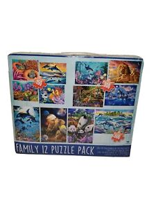 Cardinal - Family 12 Puzzle Pack With 11 Unopened Puzzles and 1 Opened