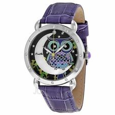 Bertha Ashley Crystal Accented Owl Moon Purple Leather Watch BR3002 NIB $750