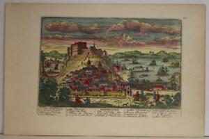 EDINBURGH SCOTLAND 1730 AVELINE UNUSUAL ANTIQUE ORIGINAL COPPER ENGRAVED VIEW