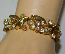 "B.S.K. Vintage Aurora Borealis Rhinestone Gold tone Flowers 7"" Bracelet 1C 101"