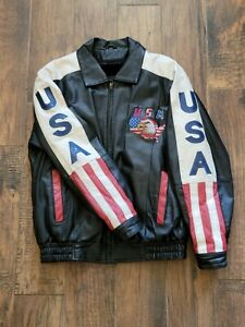 USA Mens Motorcycle Lined Leather Jacket Embroidered Bald Eagle Flag Small
