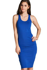 Women Cami Long Tunic Midi Dress Sleeveless Tank Top Scoop Neck Solid S M L