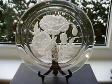 Vintage Japanese Crystal Plate - Deeply Engraved Poppies - Signed  T Yamamoto