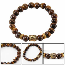 Gold Buddha Tigers Eyes Lava Stone Reiki Rock Crystal Gemstone Bead Bracelet