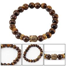 Gold Buddha Tigers Eyes Lava Stone Reiki Rock Crystal Gemstone Bead Bracelet