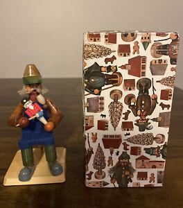 Vintage German Nutcracker Maker Incense Smoker Handmade Wood With Original Box