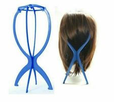 Blue Wig Display Stand Mannequin Dummy Head Wig Cap Holder Foldable Stable Tool