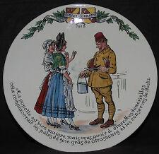 Assiette en faïence de Sarreguemines, série Le poilu en Alsace Lorraine.