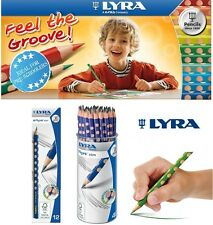 12/48 Pencils LYRA GROOVE SLIM Triangle Pencil HB with Name Field Kids Student