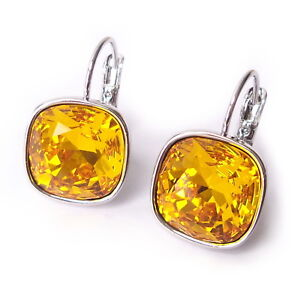 Sunflower Yellow Cushion Cut Crystal Drop Earrings w/ 12mm Swarovski 4470 Prom