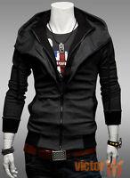 Mens Zip Up Hoody Slim Winter Hooded Hoodie Sweatshirt Coat Jacket Outwear Tops