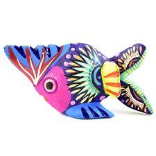 Handmade Oaxacan Copal Wood Carving Painted Folk Art Colorful Fish Figurine