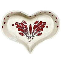Vintage The California Cleminsons GalagrayWare Heart Dish Red Polka Dots, Leaves