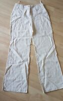 ladies PER UNA linen trousers size 12 L long tall wide leg cream