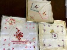Vtg 3 New Boxed Sets 1950s Mid Century Sachet & Hankies Hanky Handkerchiefs