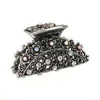 Metal Hair Claw Crystal Rehinstone diamond Hair Claw Antique Silver Plated Clip