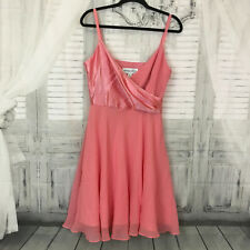 Donna Ricco New York Women 10 100% Silk Coral Pink Cocktail Dress Sleeveless B12