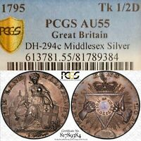 Conder Silver 1/2 Penny 1795 Great Britain Token PCGS AU55 D&H-294c Middlesex RR