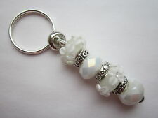 European Keyring / Bag Charm with White Floral Glass Lampwork Beads