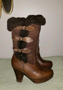Frye Ella shearling lamb fur leather sheepskin tall platform boots 8 m brown