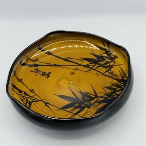 VTG Pottery Ceramic Bowl Plant Underdish Holder Japan Glazed Brown Black Bamboo