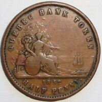 1852 PROVINCE OF CANADA HALF PENNY QUEBEC BANK TOKEN