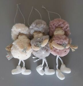 X3 Hanging Fluffy Christmas Tree Decorations. Fluffy Fairy Girl Decorations