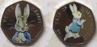 TWO Uncirculated Coloured 50p Coins Peter Rabbit 2016 Tale Of Peter Rabbit 2017