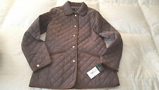 NWT  Ralph Lauren Women's Quilted Jacket w/ Faux Leather Trim  Sz. S  Brown $160