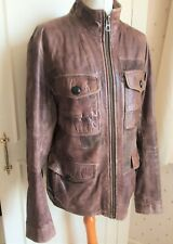 Hugo Boss Orange Leather Field Jacket 'Jenovo' Jacket   - S-M - EU48