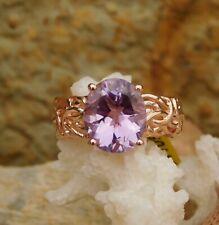 Rose De France Amethyst BYZANTINE RING Vermeil Rose Gold/Silver 4.20 cts. size 8