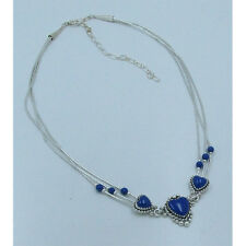3 Strand .925 Sterling Silver Natural Blue Lapis Triple Heart Necklace