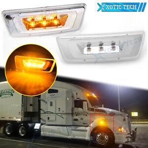 For Kenworth T680 Peterbilt 567 Clear Amber LED Indicator Side Marker Light 2pcs
