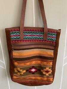 "Vintage Leather & Woven Wool Shoulder Bag Made in Peru 15"" x 13.5"" BOHO Artisan"